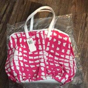 Saks Fifth Avenue White / Pink tote brand new